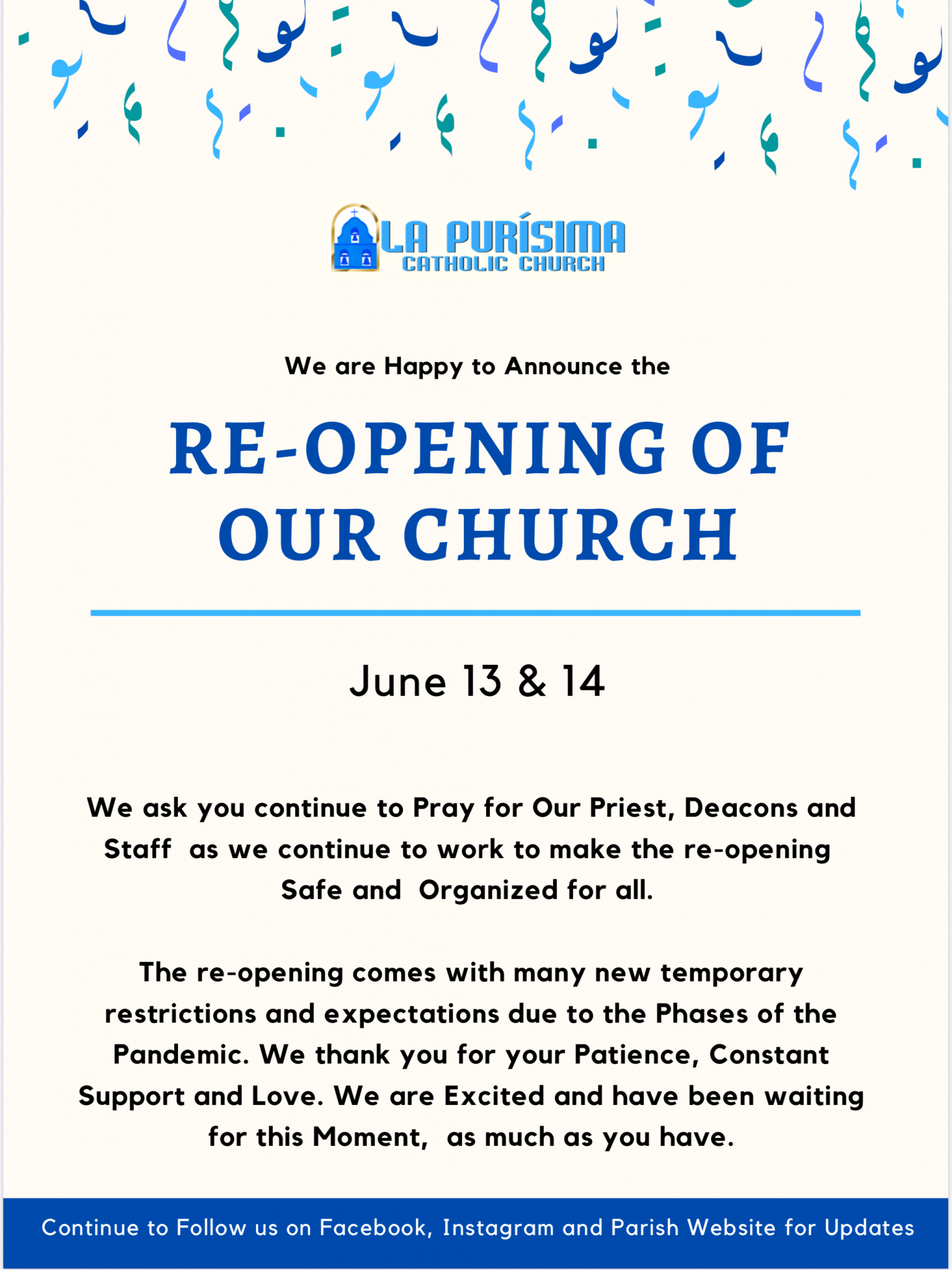 Re-Opening of Our Church