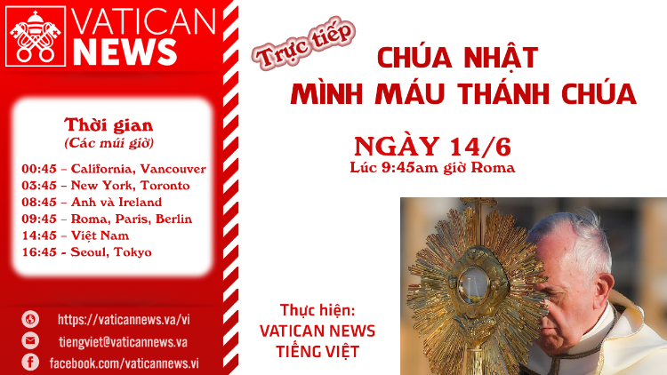 Truyền hình trực tiếp Lễ Mình và Máu Chúa Kitô do ĐTC Phanxicô cử hành